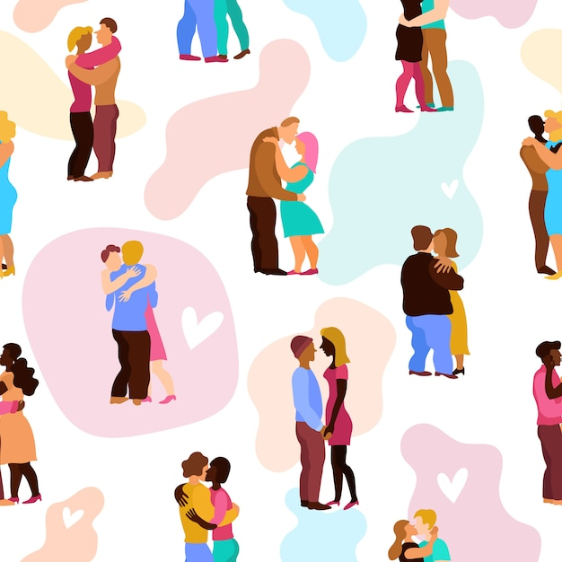 Любовь обнимает бесшовные модели Бесплатные векторы