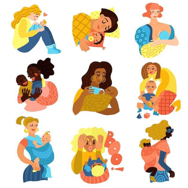 Набор символов материнства Бесплатные векторы