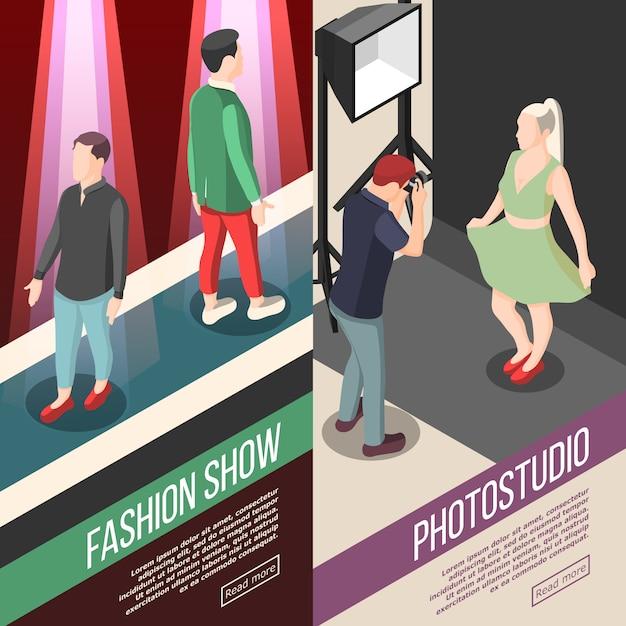 ファッション業界の等尺性バナー 無料ベクター