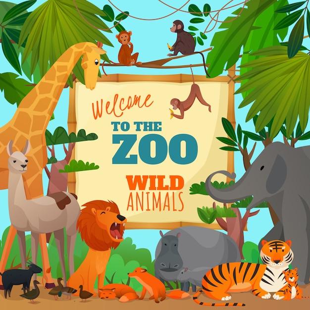 Добро пожаловать в зоопарк карикатура иллюстрации Бесплатные векторы