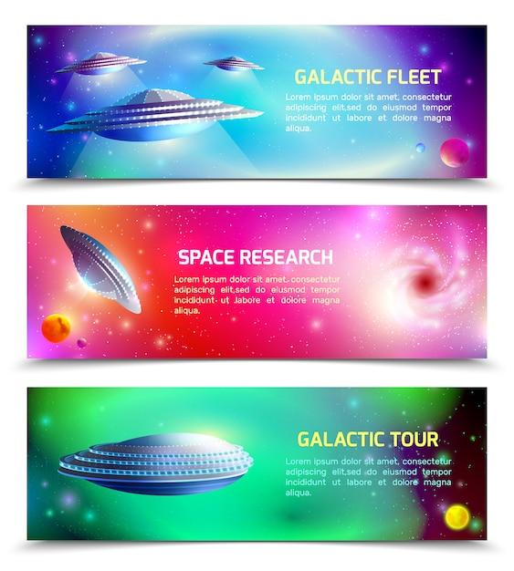 エイリアンの宇宙船水平バナー 無料ベクター