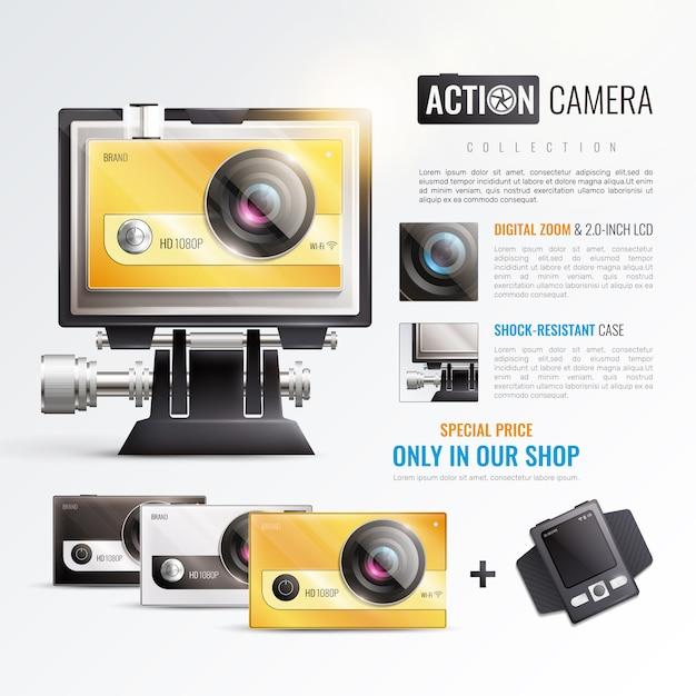 Экшн камера плакат Бесплатные векторы