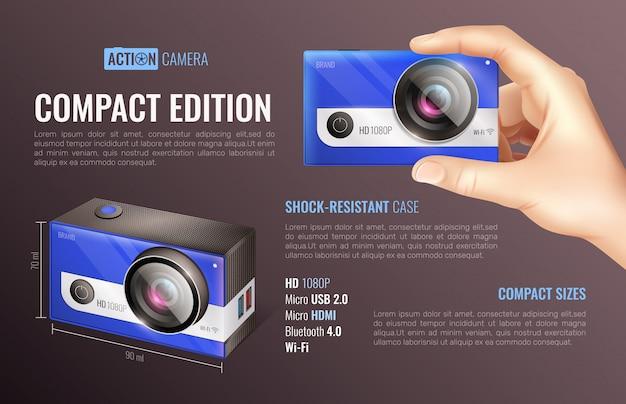 アクションカメラコンパクト版ポスター 無料ベクター