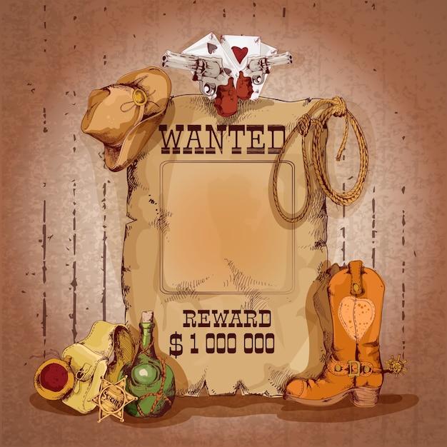 カウボーイの要素ベクトル図と報酬ポスターのための野生の西が欲しかった 無料ベクター