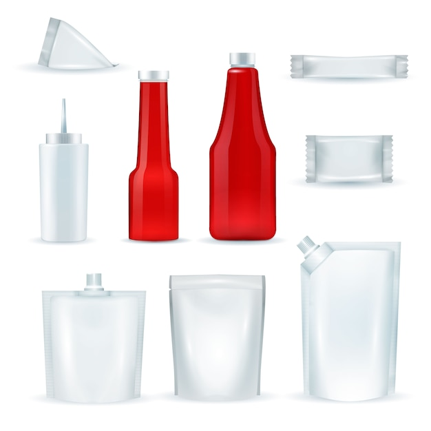 Соус бутылки пакеты реалистичный набор Бесплатные векторы