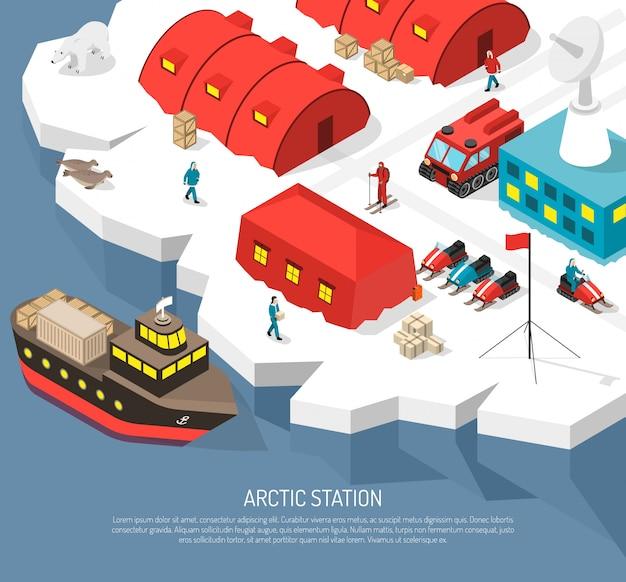 北極圏ステーション等尺性 無料ベクター