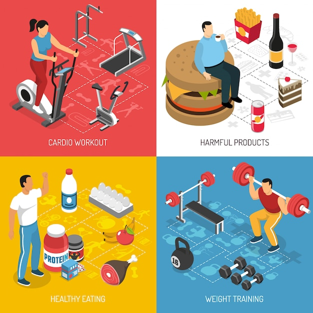 フィットネススポーツ栄養等尺性概念 無料ベクター