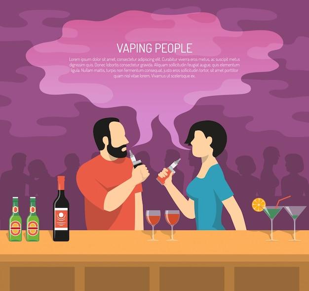 蒸気電子タバコ喫煙イラスト 無料ベクター