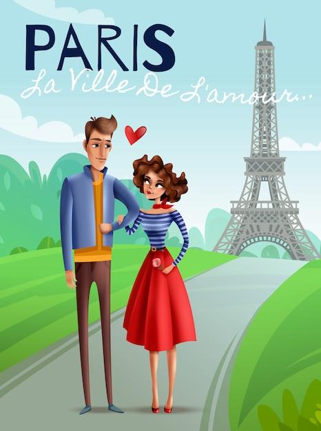 Париж мультяшный векторная иллюстрация Бесплатные векторы
