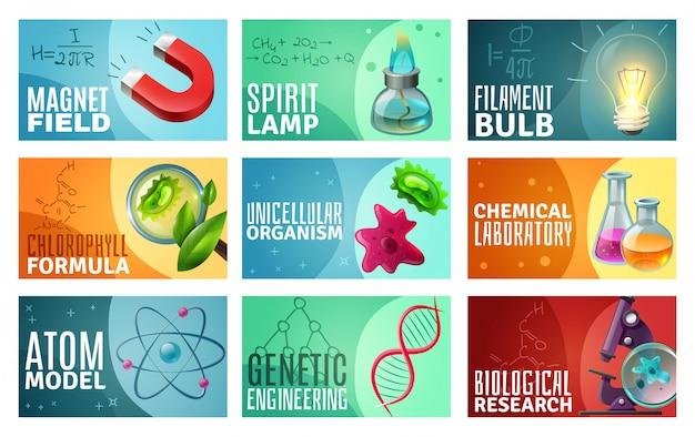 Набор науки иллюстрации Бесплатные векторы