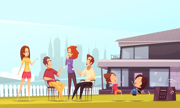Иллюстрация соседей Бесплатные векторы