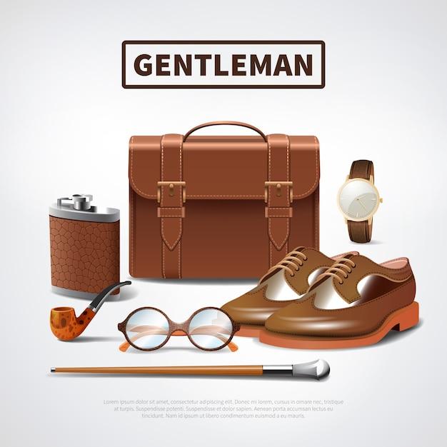 紳士のアクセサリーのリアルなセット 無料ベクター