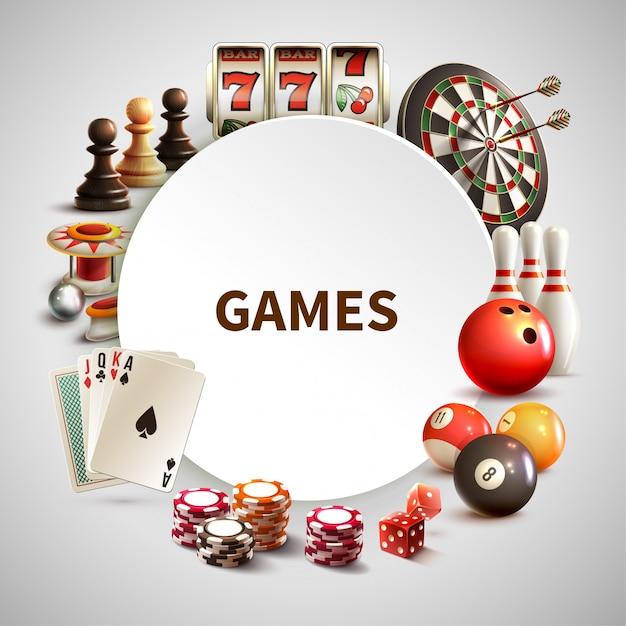 Игры реалистичная круглая рамка Бесплатные векторы