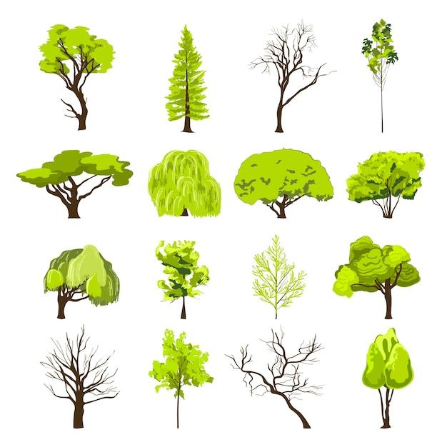 装飾的な落葉広葉樹と針葉樹林公園の木のシルエット抽象的なデザインのアイコンを設定スケッチ孤立したベクトル図 無料ベクター