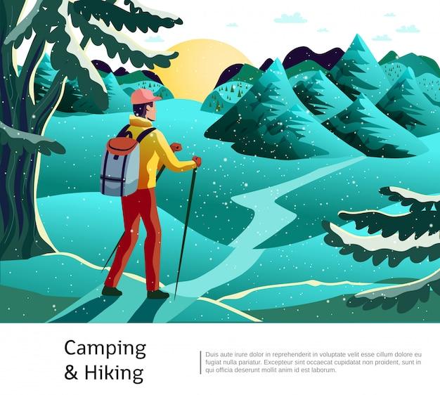 キャンプハイキング背景ポスター 無料ベクター