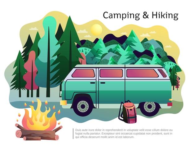 キャンプハイキングポスター 無料ベクター