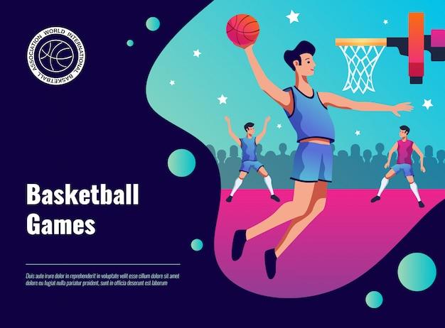 バスケットボールゲームポスターイラスト 無料ベクター