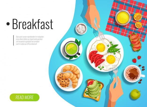朝食の色のバナー 無料ベクター