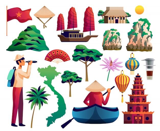 Вьетнам изолированный набор Бесплатные векторы