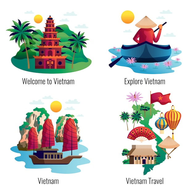 Концепция дизайна вьетнама Бесплатные векторы