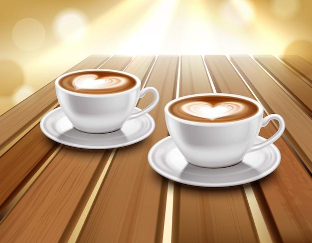 ラテとカプチーノのコーヒーイラスト 無料ベクター