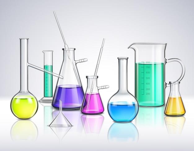 実験用ガラス器具のリアルな組成 無料ベクター