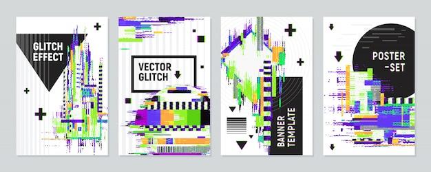 グリッチ効果が設定されたポスター 無料ベクター