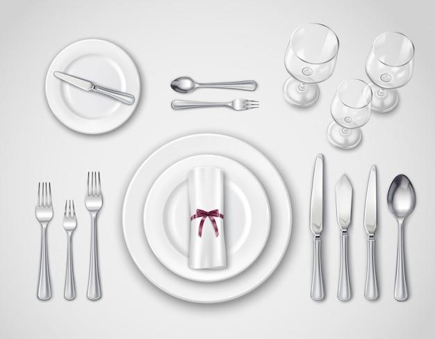 テーブル設定の現実的なトップビュー 無料ベクター