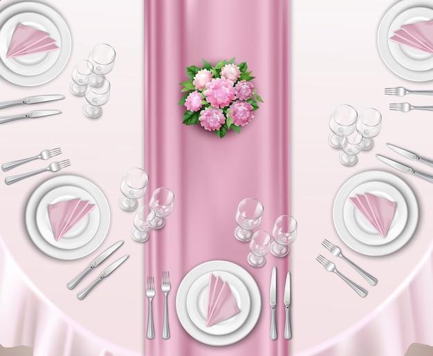 結婚式のテーブルのセットアップ 無料ベクター