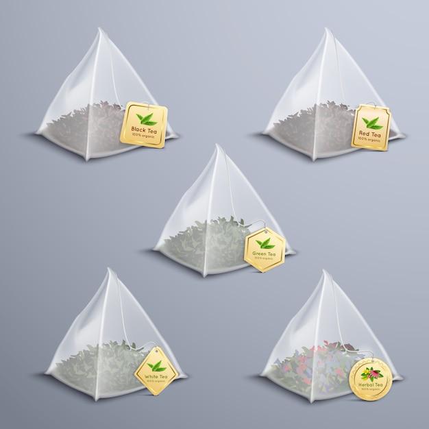 Чайные пирамидальные пакетики реалистичный набор Бесплатные векторы