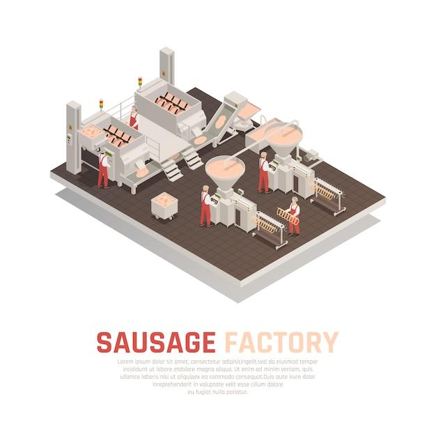 Колбасная фабрика изометрическая композиция Бесплатные векторы