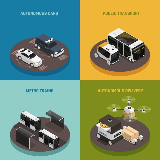 Изометрическая концепция автономных транспортных средств Бесплатные векторы