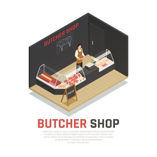 肉屋店等尺性組成物 無料ベクター