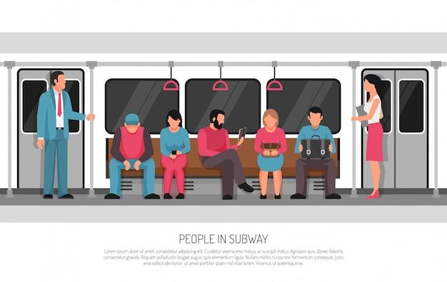Люди метро транспорт плакат Бесплатные векторы