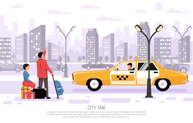 Городской такси транспорт плакат Бесплатные векторы