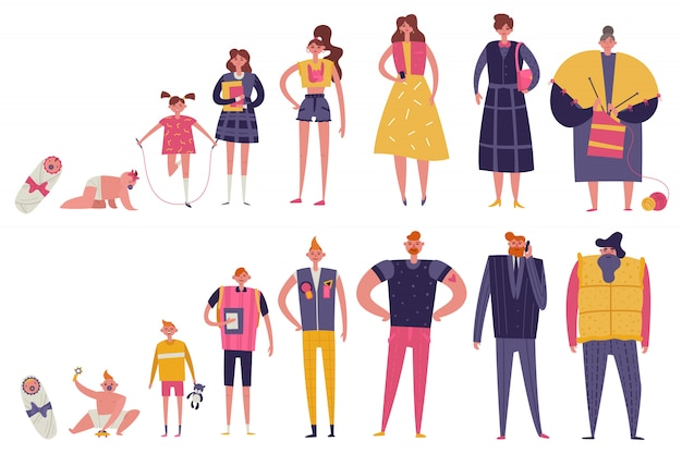 Жизненные циклы мужчины и женщины Бесплатные векторы