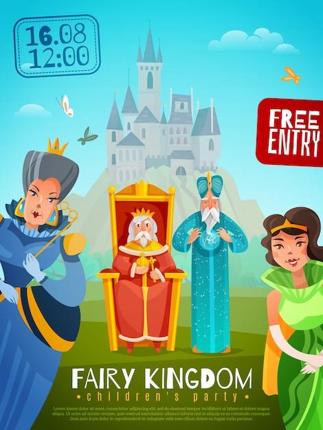 Сказочное королевство плакат иллюстрация Бесплатные векторы