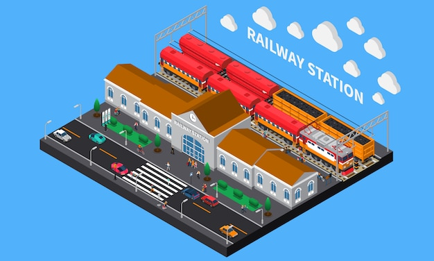 Железнодорожная станция изометрическая композиция Бесплатные векторы