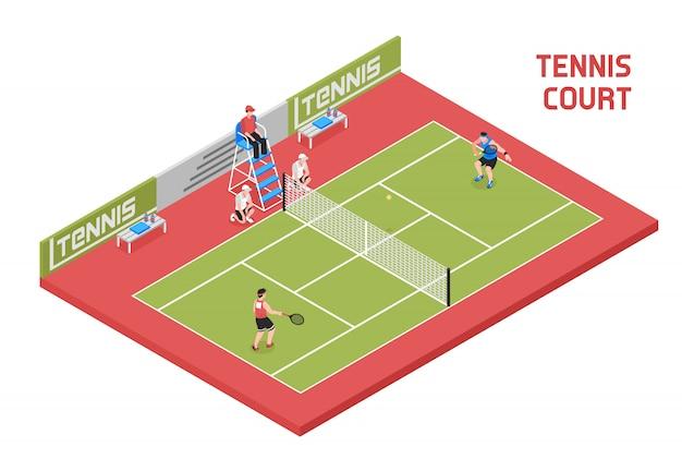 スポーツテニスコート等尺性 無料ベクター