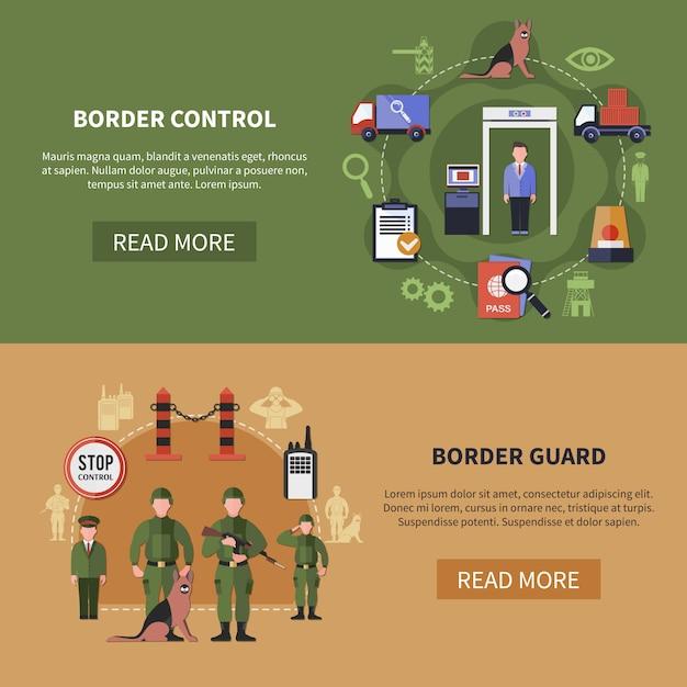 国境警備隊バナーセット 無料ベクター