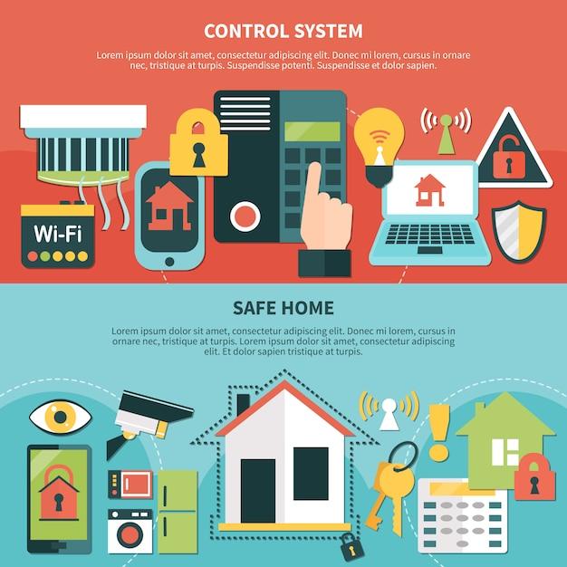 制御システムの安全なホームバナー 無料ベクター
