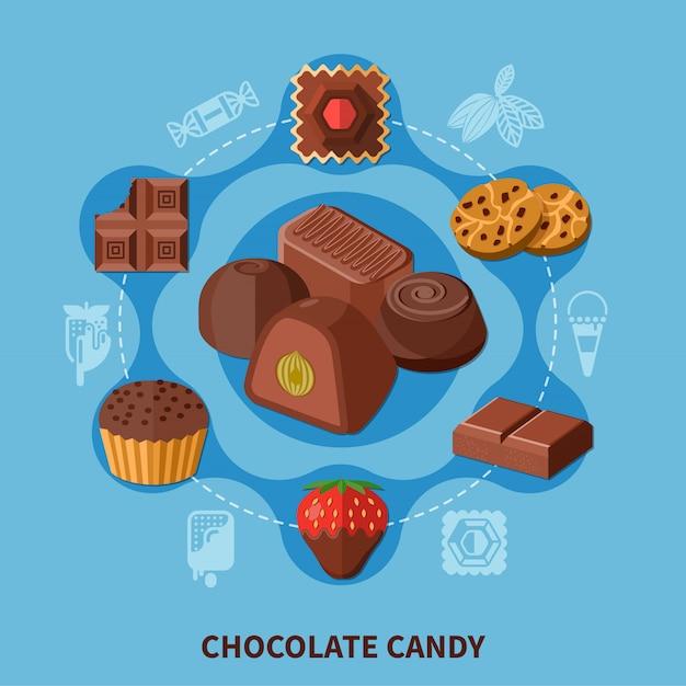Плоская композиция из шоколадных конфет Бесплатные векторы