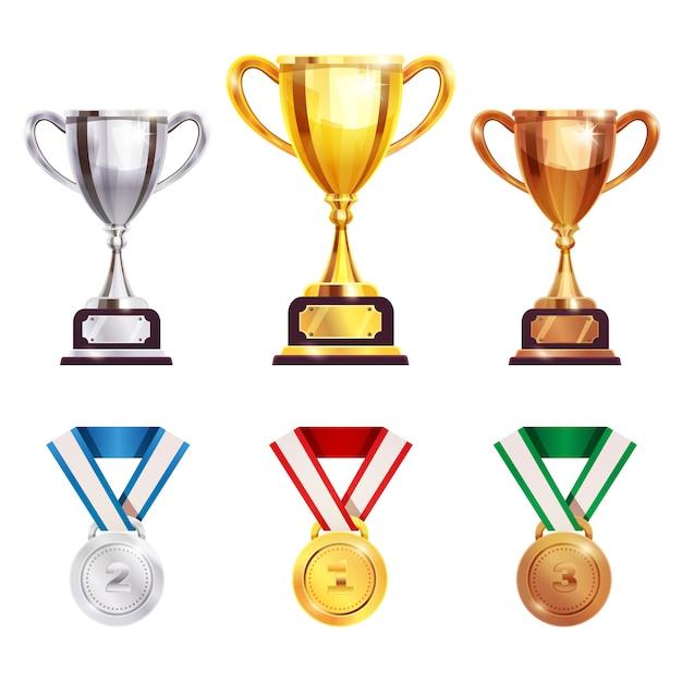 Награда трофей медаль реалистичный набор Бесплатные векторы