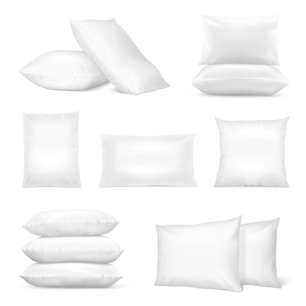 現実的な白い枕セット 無料ベクター