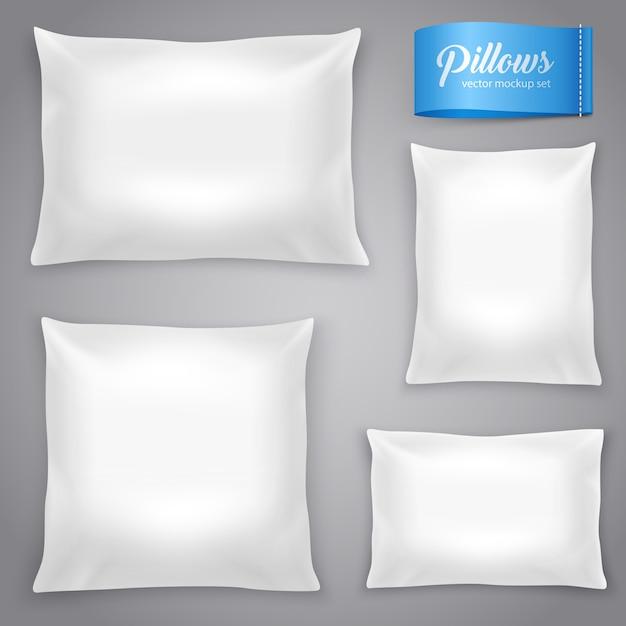 Набор белых реалистичных подушек Бесплатные векторы