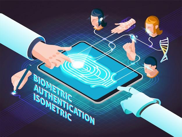 Методы биометрической аутентификации изометрическая композиция Бесплатные векторы