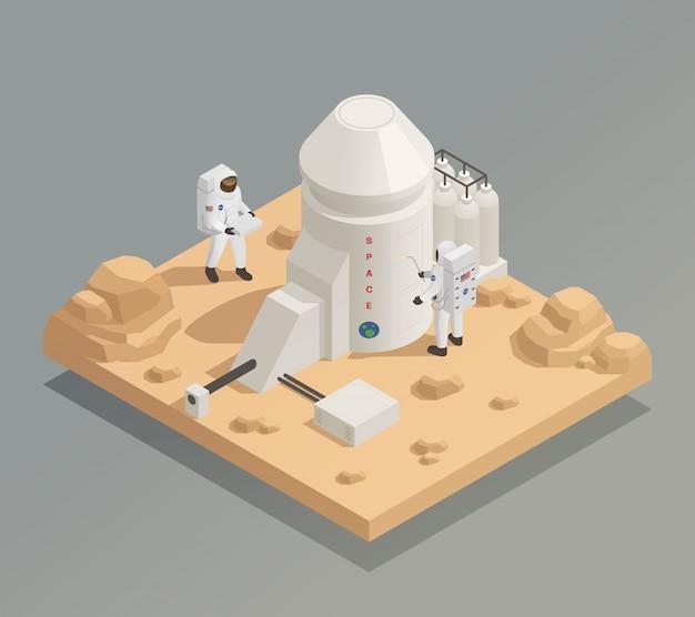 Астронавты на планете изометрическая композиция Бесплатные векторы