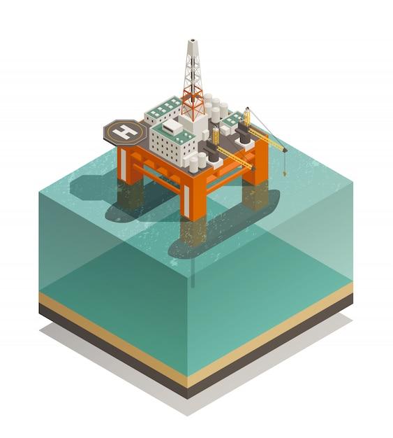 Нефтедобывающая промышленность изометрическая композиция Бесплатные векторы