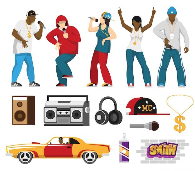 Плоский набор для рэп-певцов и аксессуаров Бесплатные векторы