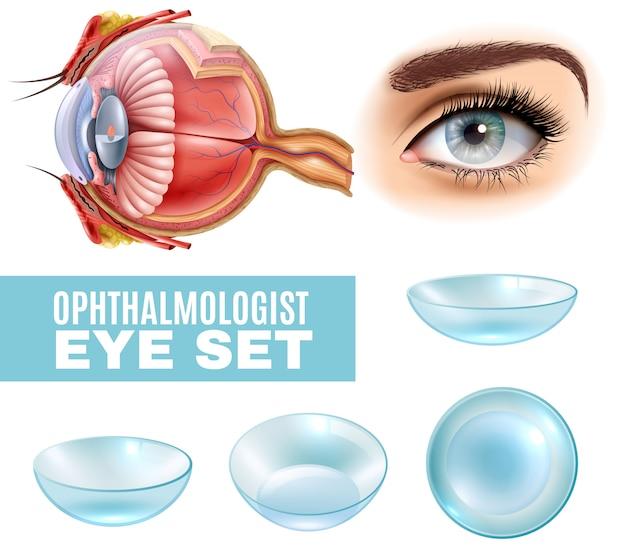 眼科の現実的なセット 無料ベクター